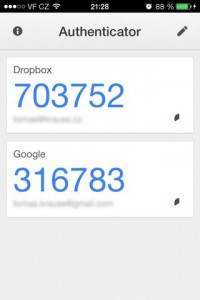 google authenticator screen