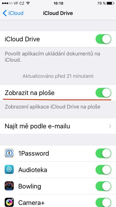 Nastavení iCloud Drive